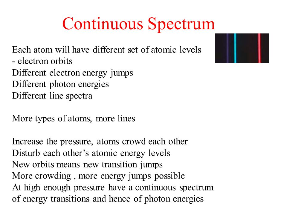 Continuous Spectrum Each atom will have different set of atomic levels