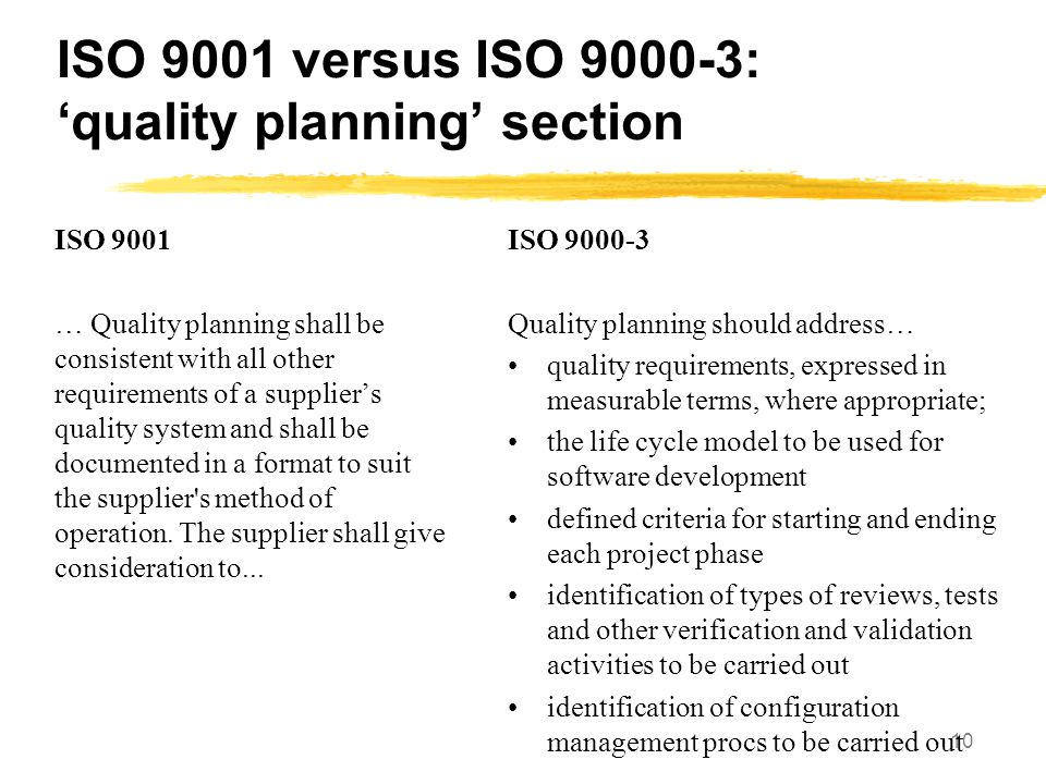 ISO 9001 versus ISO : 'quality planning' section