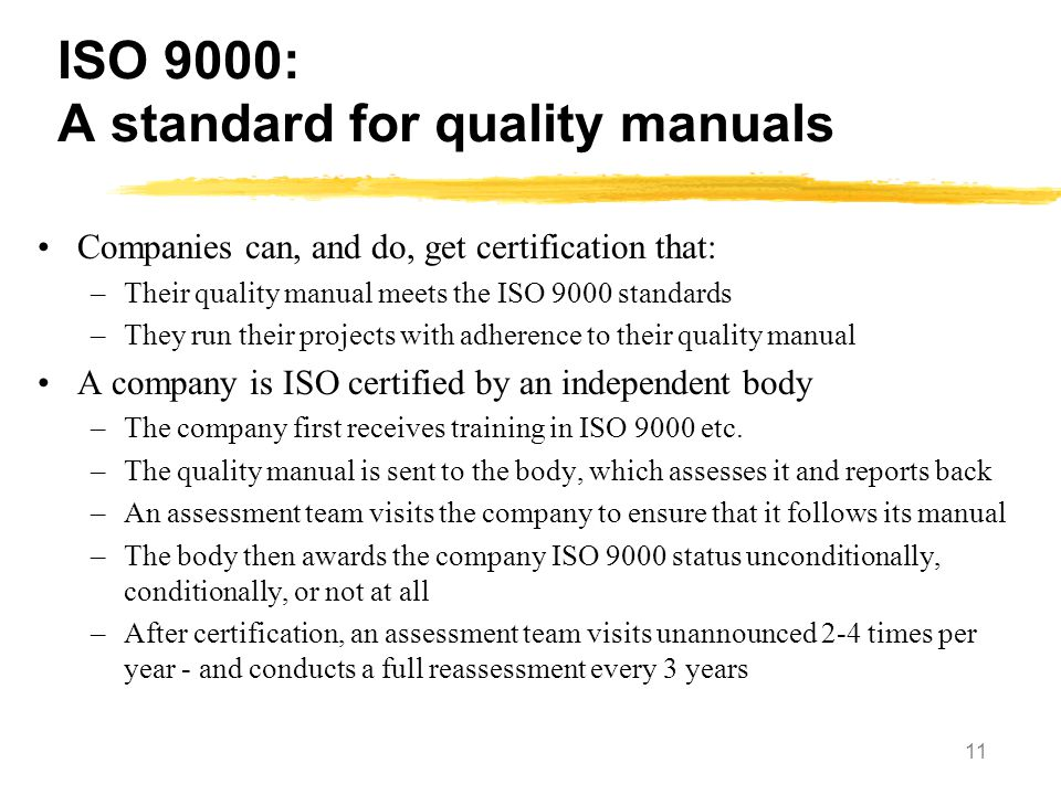 ISO 9000: A standard for quality manuals