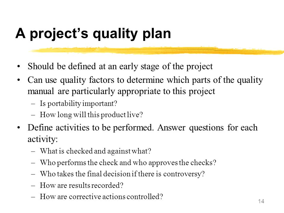 A project's quality plan