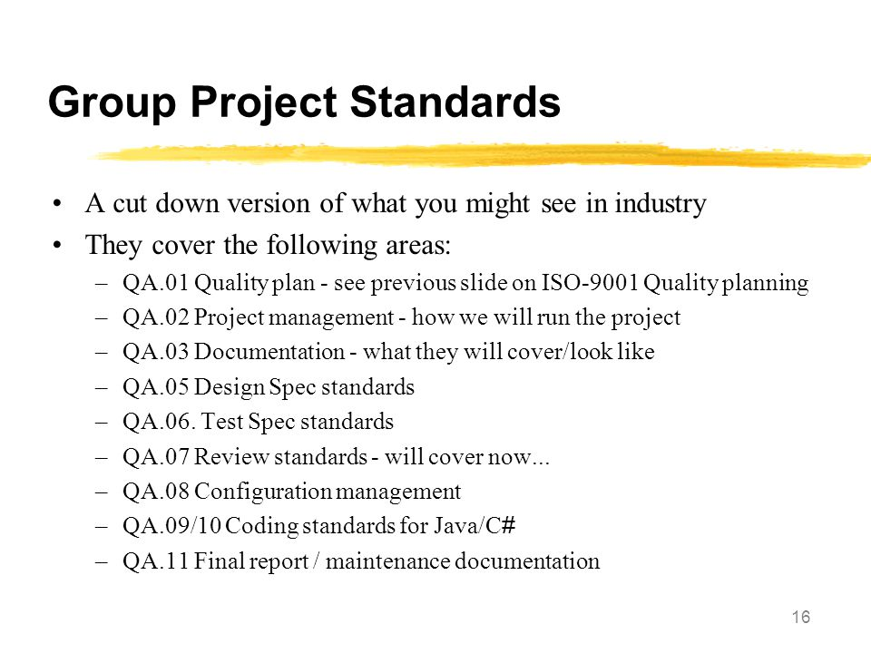Group Project Standards