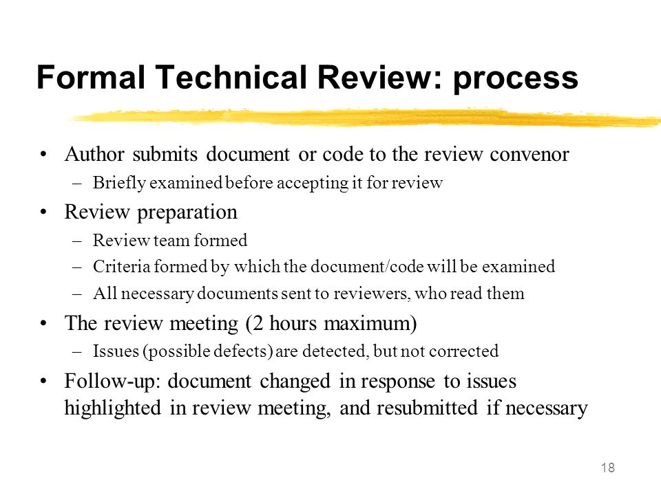 Formal Technical Review: process