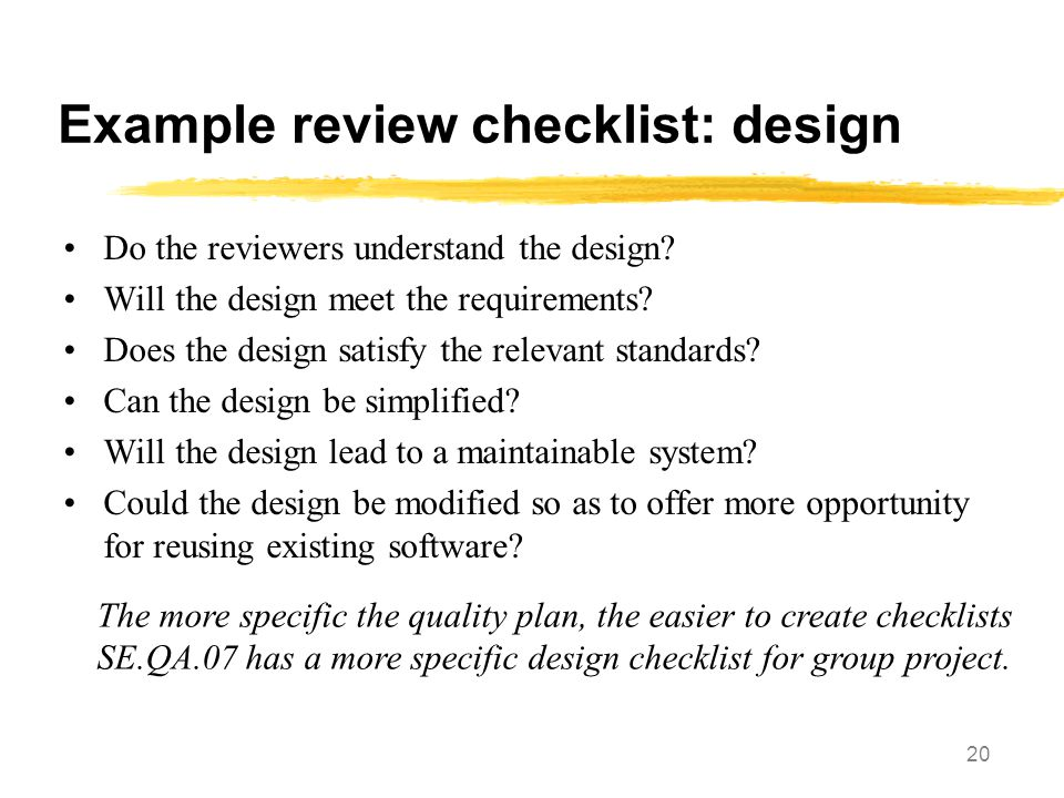 Example review checklist: design