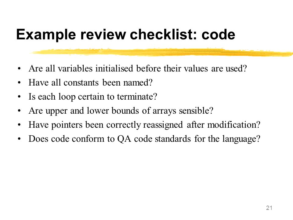 Example review checklist: code