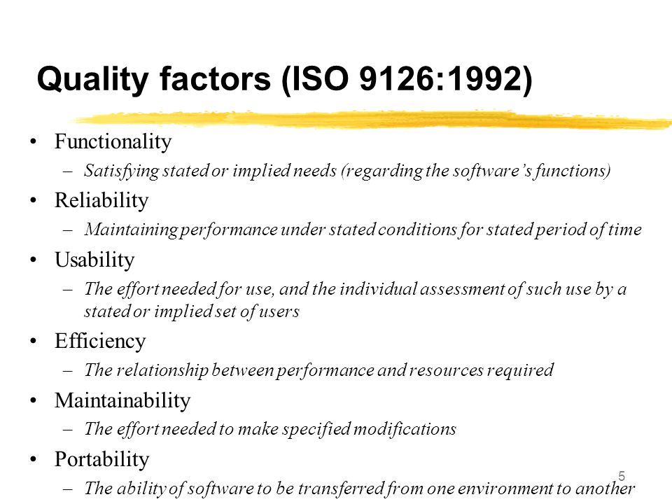 Quality factors (ISO 9126:1992)