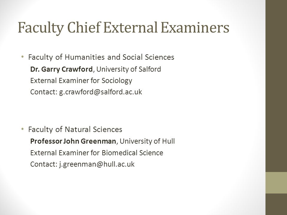 Faculty Chief External Examiners