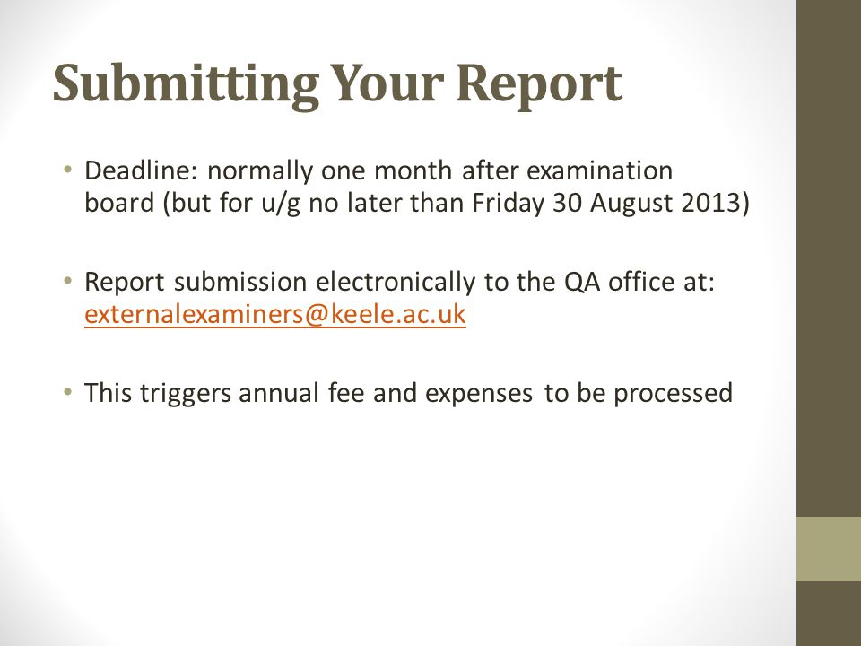 Submitting Your Report