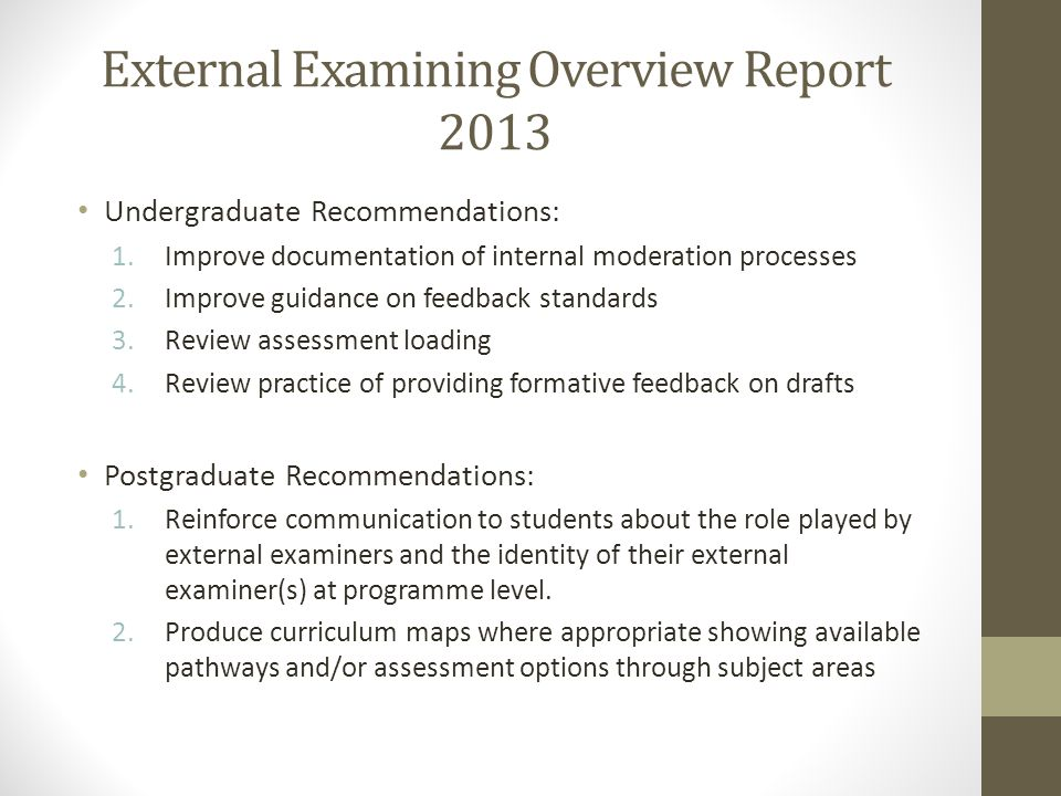 External Examining Overview Report 2013