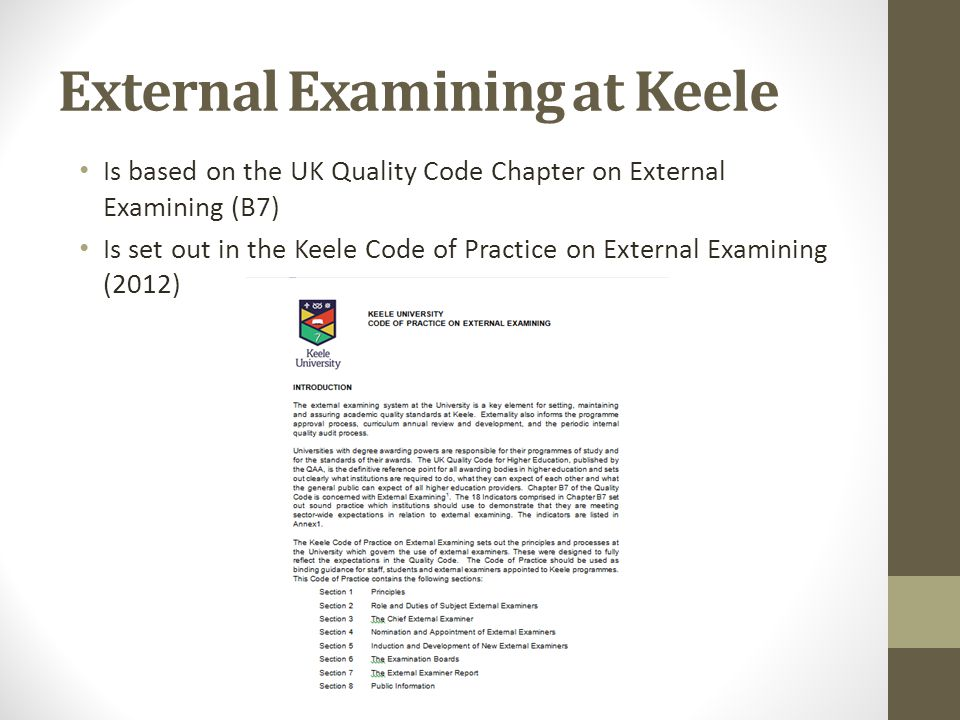 External Examining at Keele