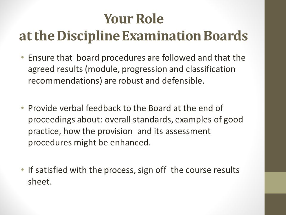 Your Role at the Discipline Examination Boards