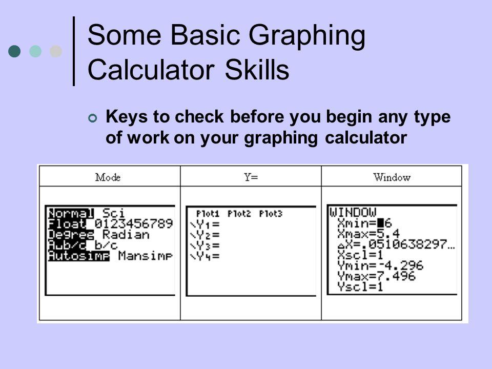 Some Basic Graphing Calculator Skills