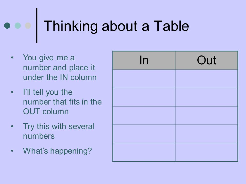 Thinking about a Table In Out