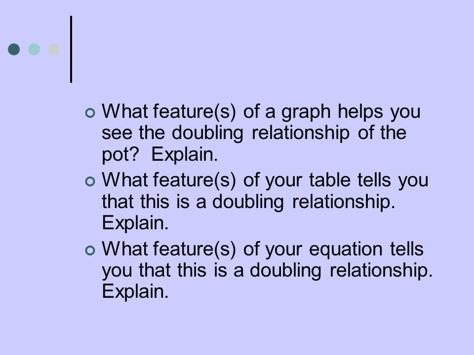 What feature(s) of a graph helps you see the doubling relationship of the pot Explain.