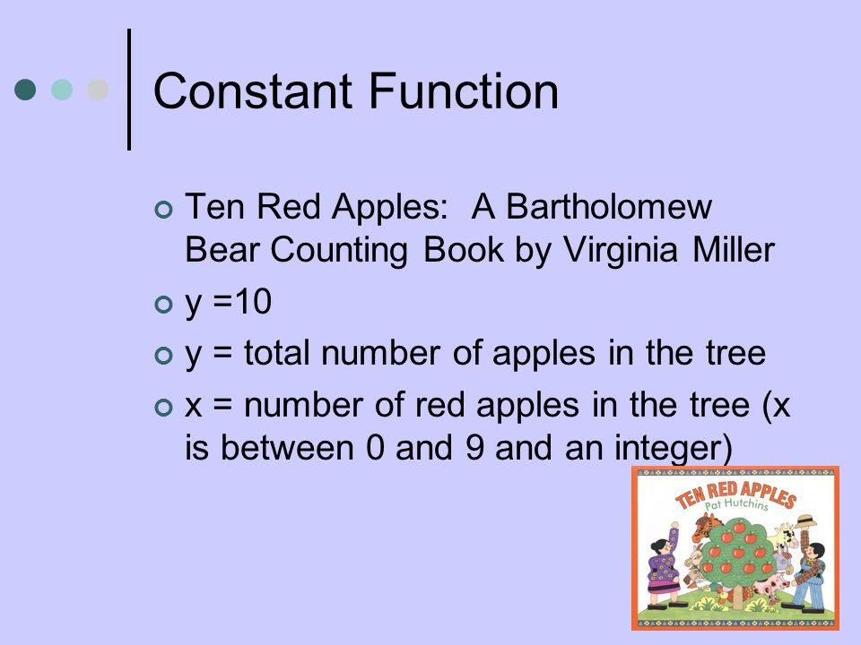 Constant Function Ten Red Apples: A Bartholomew Bear Counting Book by Virginia Miller. y =10. y = total number of apples in the tree.