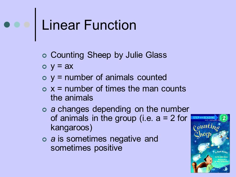 Linear Function Counting Sheep by Julie Glass y = ax