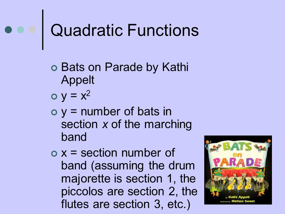 Quadratic Functions Bats on Parade by Kathi Appelt y = x2