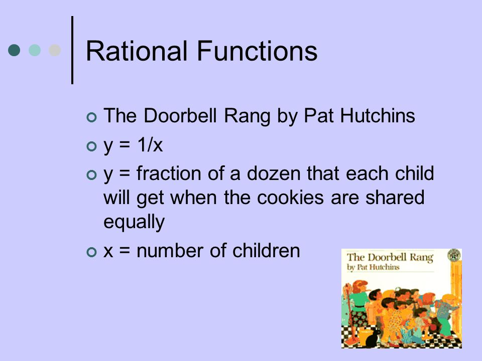 Rational Functions The Doorbell Rang by Pat Hutchins y = 1/x