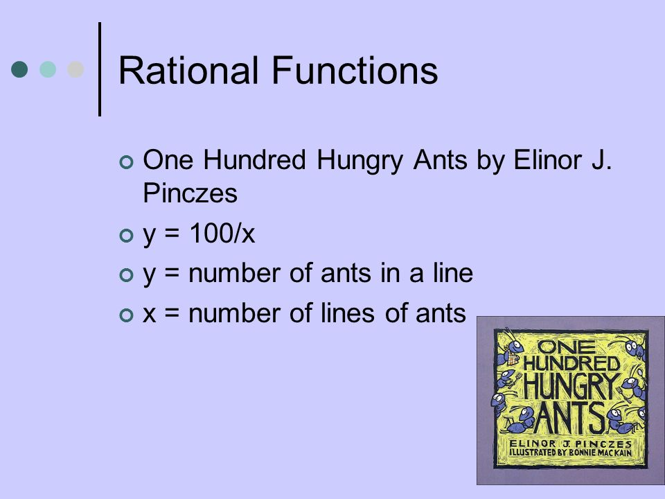 Rational Functions One Hundred Hungry Ants by Elinor J. Pinczes