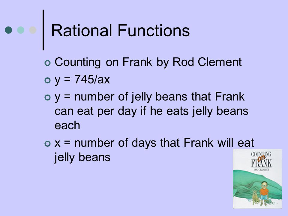 Rational Functions Counting on Frank by Rod Clement y = 745/ax