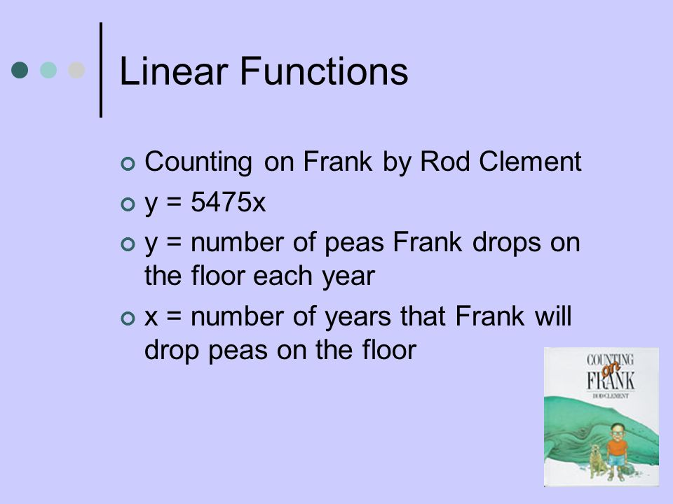 Linear Functions Counting on Frank by Rod Clement y = 5475x
