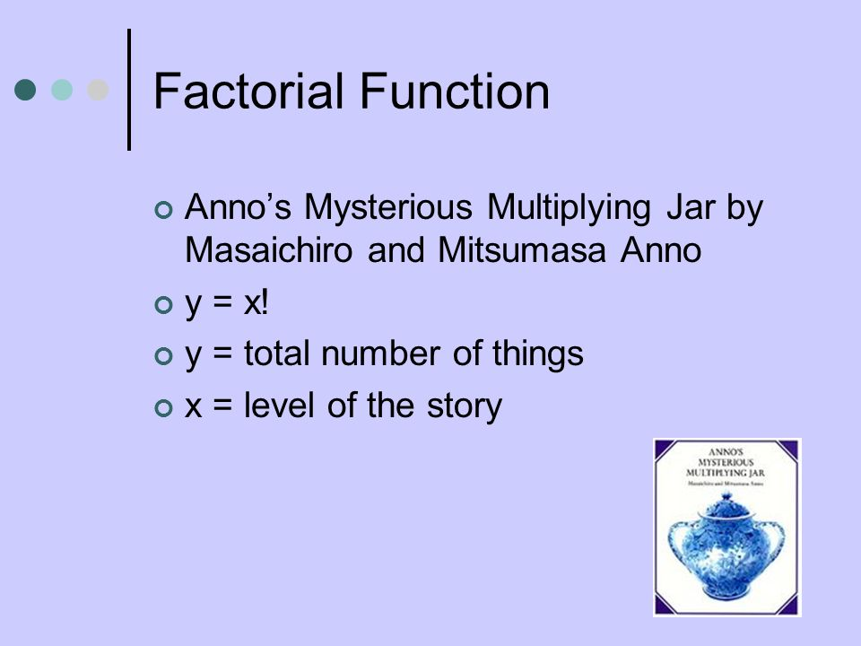 Factorial Function Anno's Mysterious Multiplying Jar by Masaichiro and Mitsumasa Anno. y = x! y = total number of things.