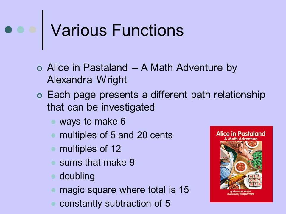Various Functions Alice in Pastaland – A Math Adventure by Alexandra Wright.