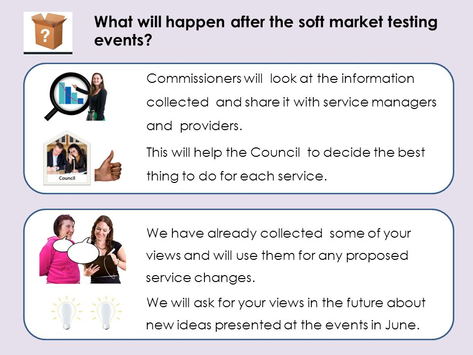 What will happen after the soft market testing events