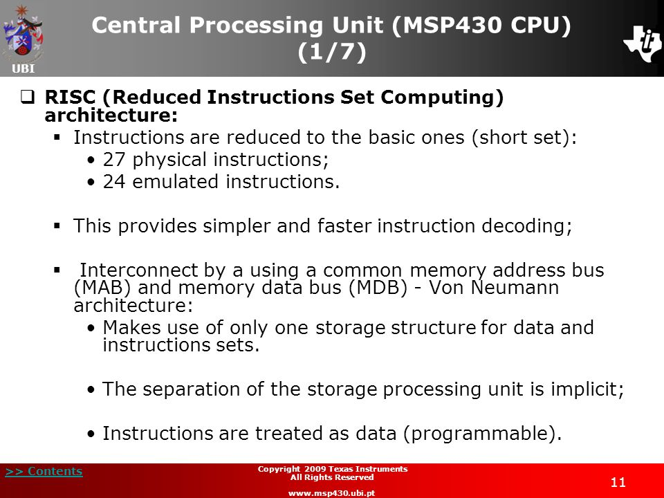 Central Processing Unit (MSP430 CPU) (1/7)