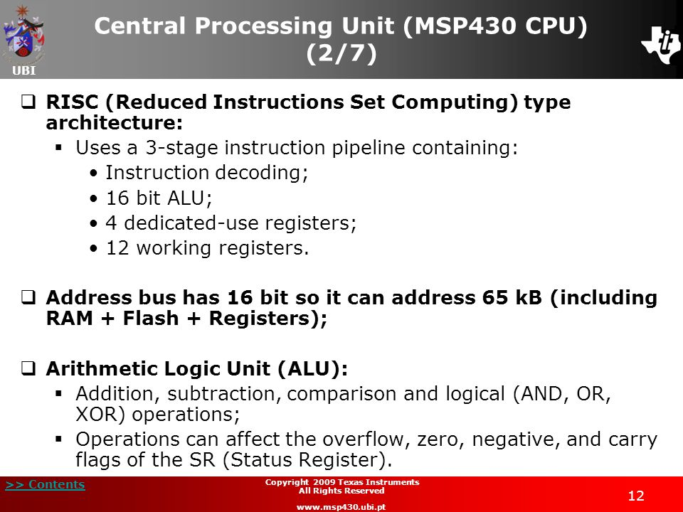 Central Processing Unit (MSP430 CPU) (2/7)