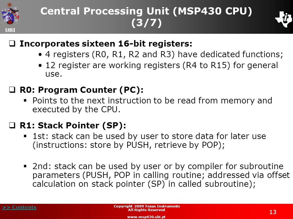 Central Processing Unit (MSP430 CPU) (3/7)