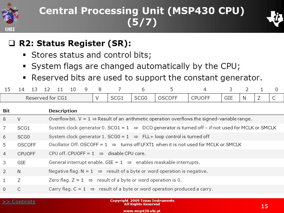 Central Processing Unit (MSP430 CPU) (5/7)