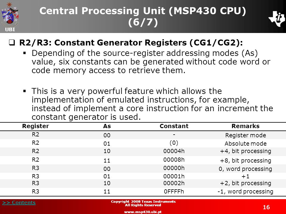 Central Processing Unit (MSP430 CPU) (6/7)