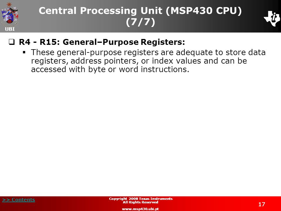 Central Processing Unit (MSP430 CPU) (7/7)