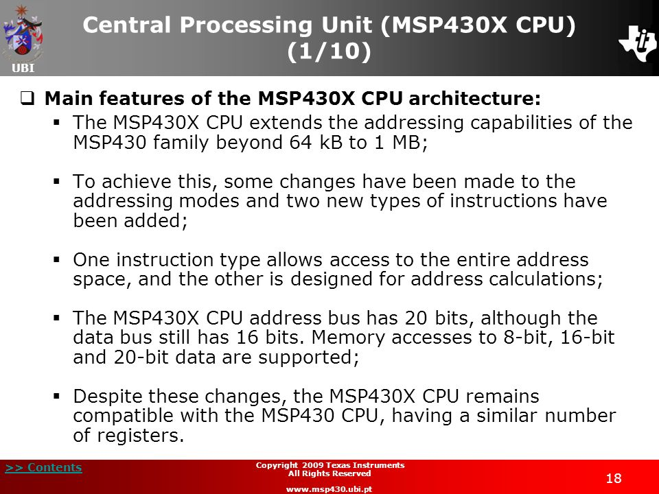 Central Processing Unit (MSP430X CPU) (1/10)