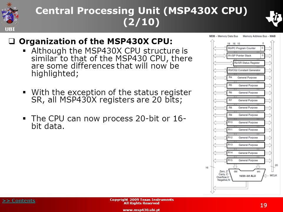 Central Processing Unit (MSP430X CPU) (2/10)