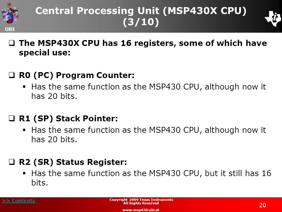 Central Processing Unit (MSP430X CPU) (3/10)