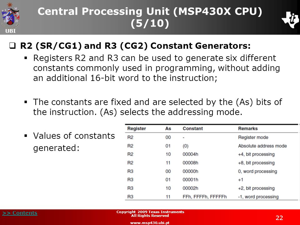 Central Processing Unit (MSP430X CPU) (5/10)