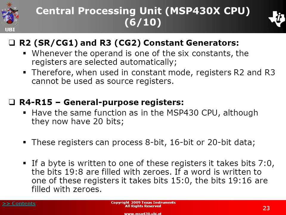 Central Processing Unit (MSP430X CPU) (6/10)