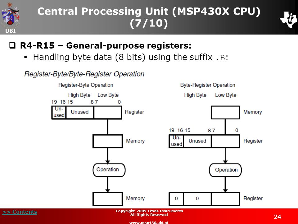 Central Processing Unit (MSP430X CPU) (7/10)