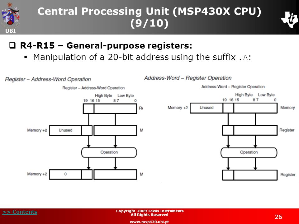 Central Processing Unit (MSP430X CPU) (9/10)