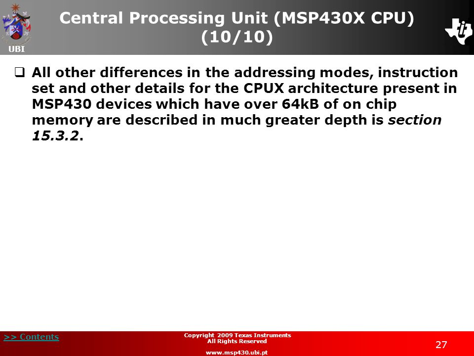 Central Processing Unit (MSP430X CPU) (10/10)