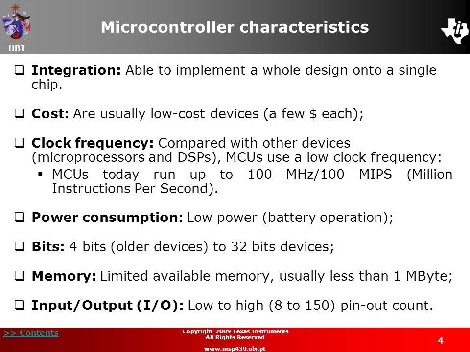 Microcontroller characteristics