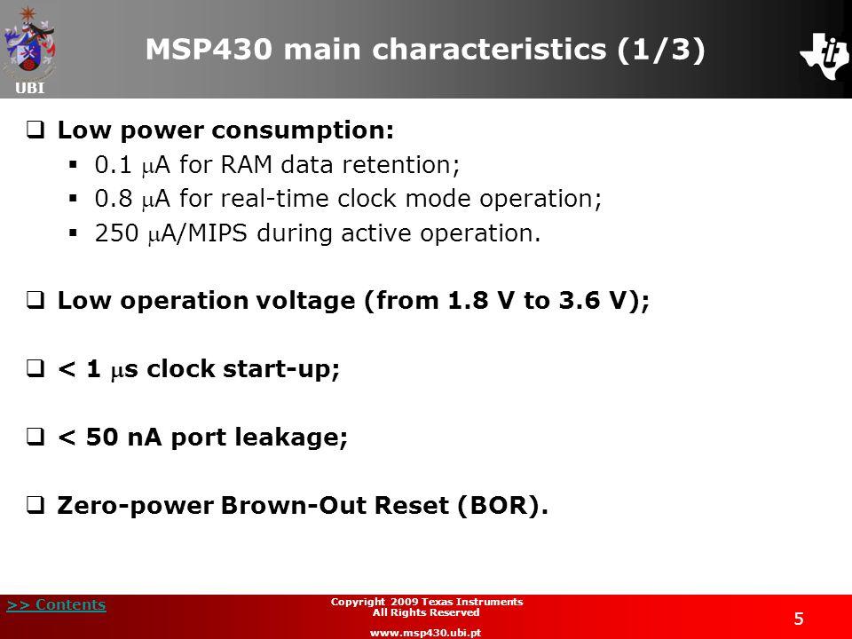 MSP430 main characteristics (1/3)