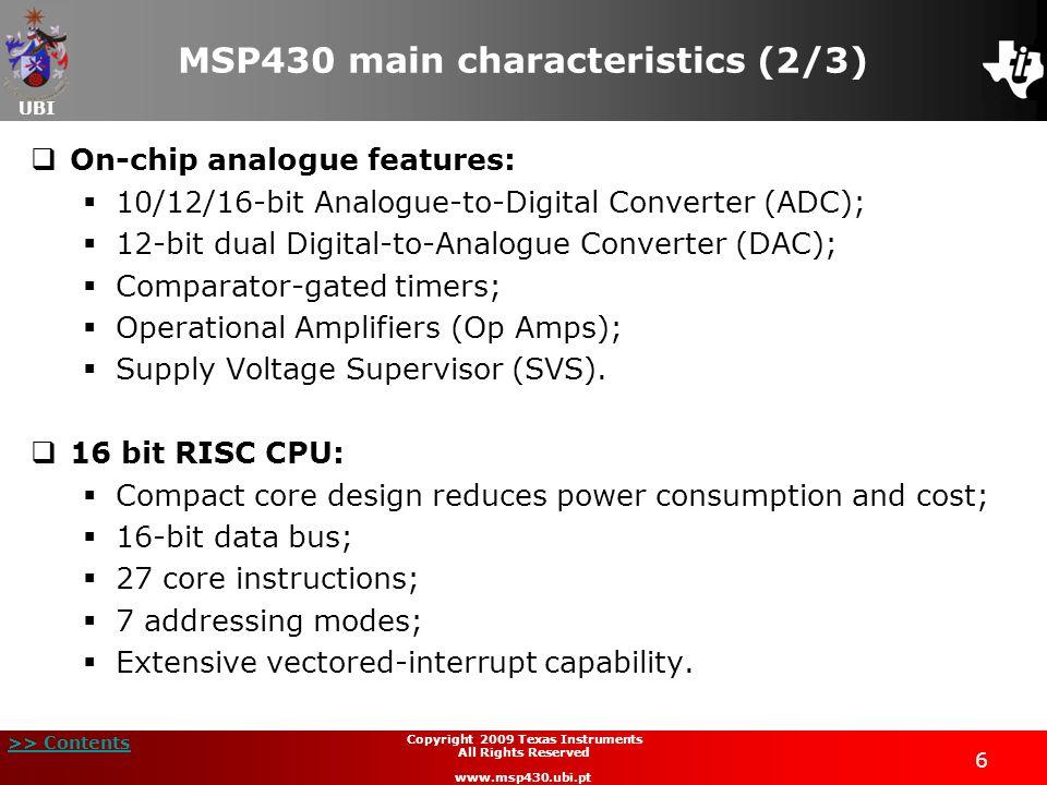 MSP430 main characteristics (2/3)