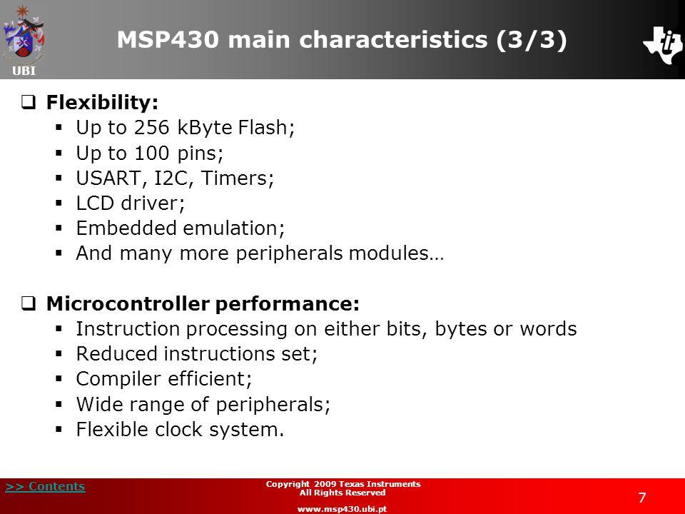 MSP430 main characteristics (3/3)