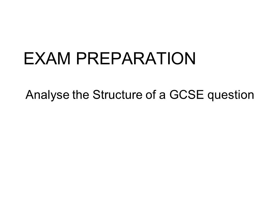 Analyse the Structure of a GCSE question