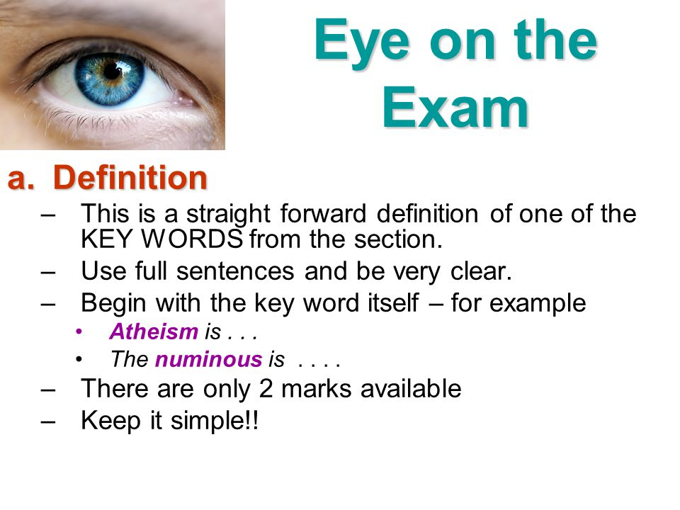 Eye on the Exam Definition