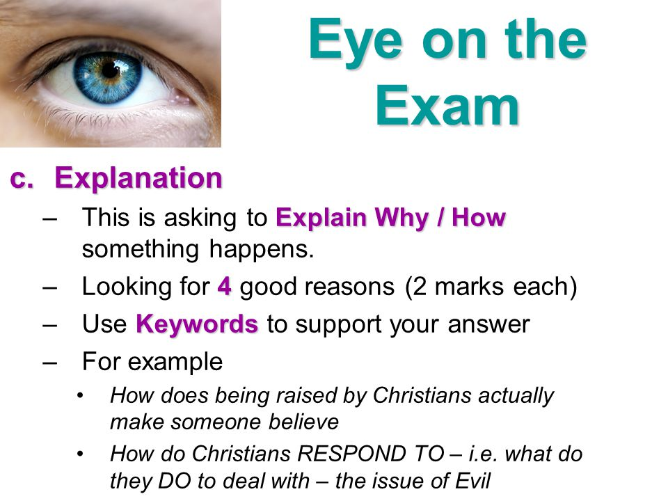 Eye on the Exam Explanation