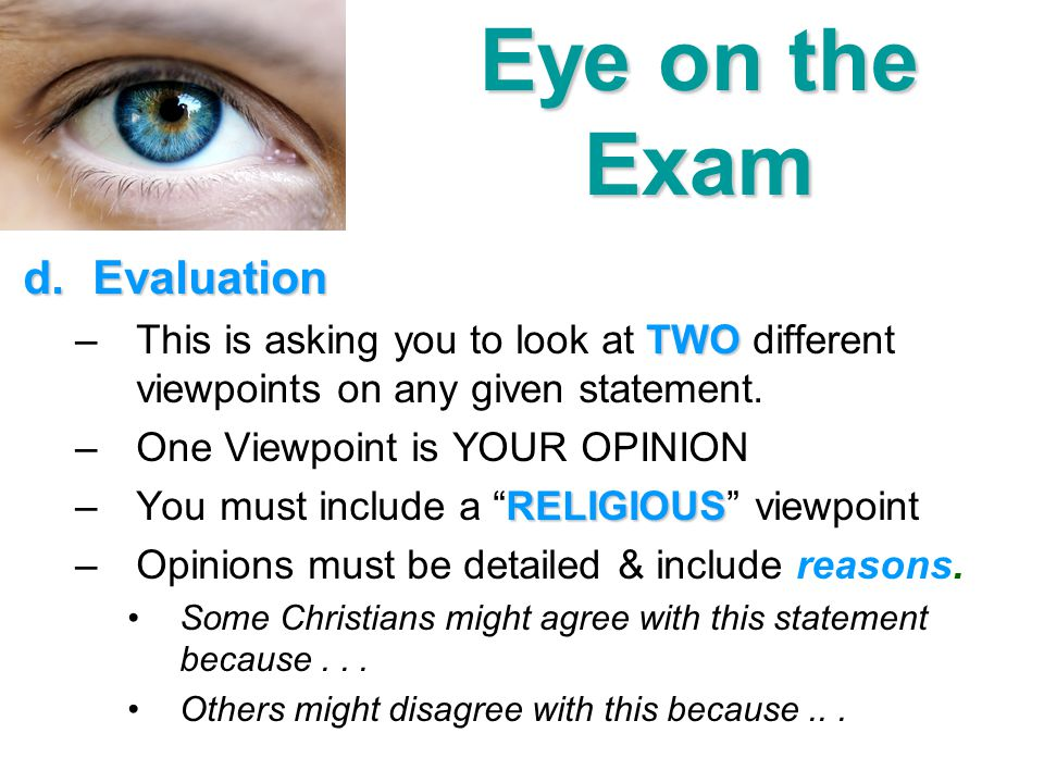 Eye on the Exam Evaluation