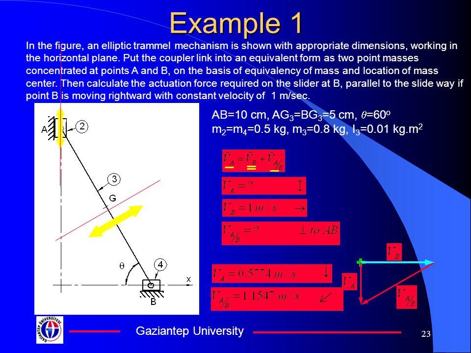 Example 1 AB=10 cm, AG3=BG3=5 cm, q=60o